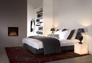 elektrische haard in slaapkamer