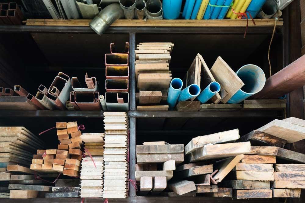 bouwmaterialen opslaan