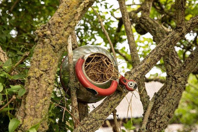 Vogelhuisje van een theepot